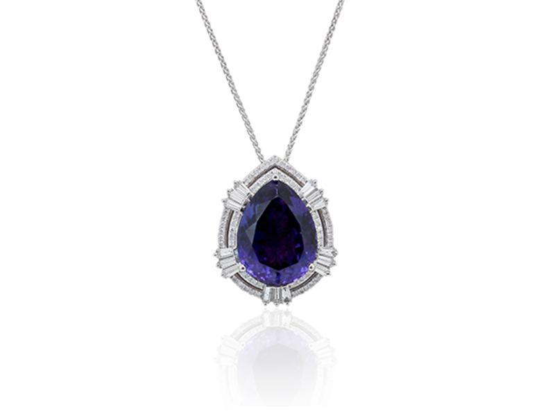18ct white gold diamond tanzanite pendant patricia g aloadofball Gallery